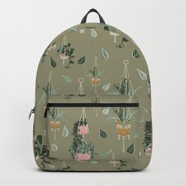 Modern Boho Macrame Plant Hangers Pattern Moss Green Backpack