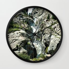 waterfall rope bridge kaunertal alps tyrol austria europe 1 Wall Clock