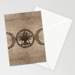 Triple Moon with pentagram and tree of life Stationery Cards