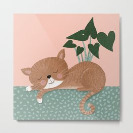Sleeping, relaxed cat with a pink and green backgound and a plant Metal Print