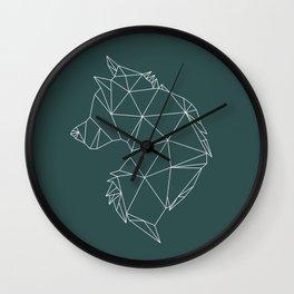 Geometric Wolf (White on Slate) Wall Clock