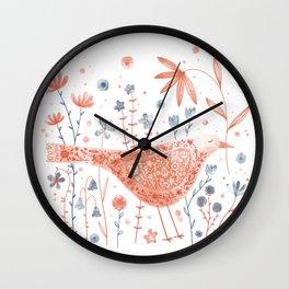 Apricot Bird Wall Clock