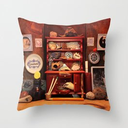 Curio Cabinet - Search and Find! Throw Pillow