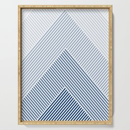 Shades of Blue Abstract geometric pattern Serving Tray