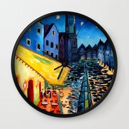 Landshut Bavaria Van Gogh Style Night Cafe - Customizable Wall Clock