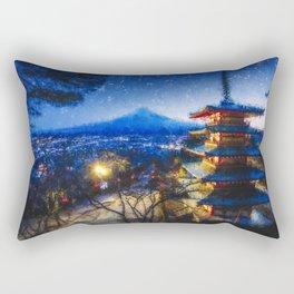 Temple and Mount Fujiyama - Digital Oil Painting Rectangular Pillow