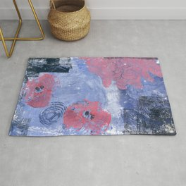 pink dahlia and apples: linoprint Rug