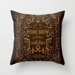 D20 Home Brew Content Creator Aged Label Throw Pillow
