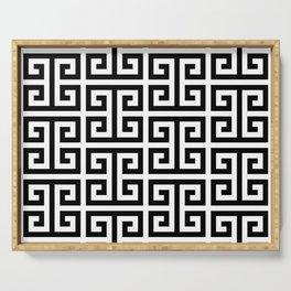 Large Black and White Greek Key Pattern Serving Tray