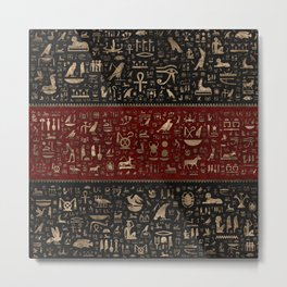 Ancient Egyptian hieroglyphs - Black and Red Leather and gold Metal Print