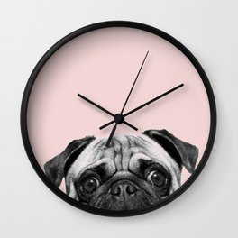 Blush pink Pug pop Wall Clock