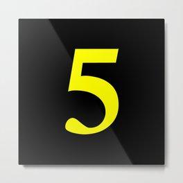 5 (YELLOW & BLACK NUMBERS) Metal Print