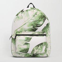Tropical Leaves Green & White Backpack