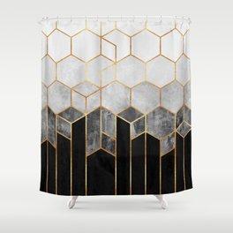 Charcoal Hexagons Duschvorhang