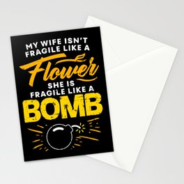 Fragile Like A Bomb Funny Wife Gift Stationery Cards