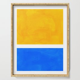 Primary Yellow Cerulean Blue Mid Century Modern Abstract Minimalist Rothko Color Field Squares Serving Tray