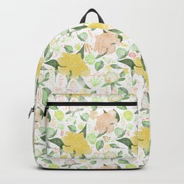 Peonies Abound Pattern in Yellow and Pastel Coral Backpack