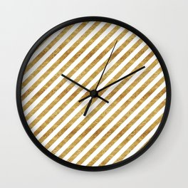 Golden Stripes Wall Clock