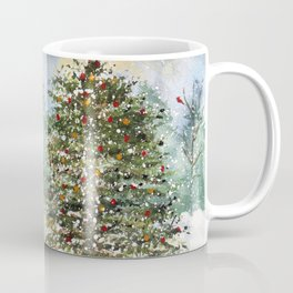 Snowy Christmas Tree in the Woods Original Watercolor Coffee Mug