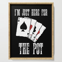 cool poker player t-shirt for poker fans Serving Tray