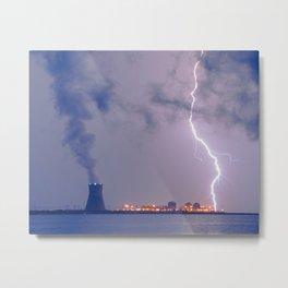Rural Landscape Photograph Lightning Bolt and Salem Power Plant 2 Metal Print