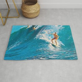 Hawaiian Surfer's Vintage Advertisement Poster Rug