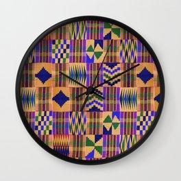 Kente Cloth // Anzac Yellow & Persian Blue Wall Clock