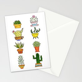 Succulents and Cacti Potted Plants Stationery Cards