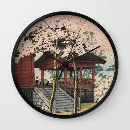 Hasui Kawase, Sakura At Kiyomizu Temple, Ueno - Vintage Japanese Woodblock Print Art Wall Clock
