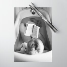 The Well-read Woman (reading in the bathtub) black and white photography Wrapping Paper