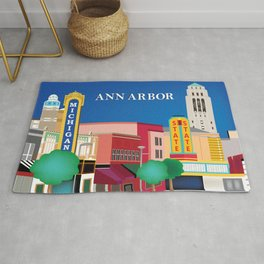 Ann Arbor, Michigan - Skyline Illustration by Loose Petals Rug