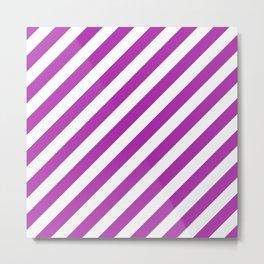 Diagonal Stripes (Purple & White Pattern) Metal Print
