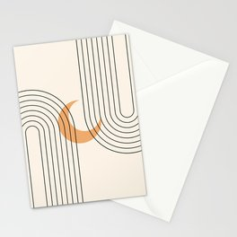 Geometric Lines in Black and Beige 18 (Rainbow and Moon Abstraction) Stationery Cards
