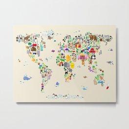 Animal Map of the World Metal Print