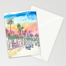 Sunset Blvd Los Angeles Rainbow Sunset,jpg Stationery Cards