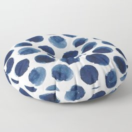 Watercolor Navy Blue Polka Dots Floor Pillow