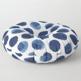 Watercolor Navy Blue Polka Dots Floor Pillow