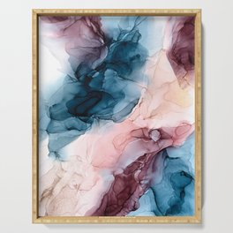 Pastel Plum, Deep Blue, Blush and Gold Abstract Painting Serving Tray