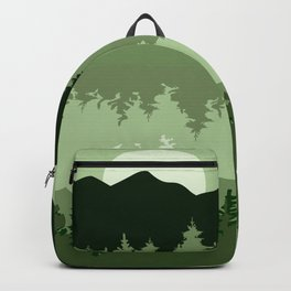 Green Tone Forest and Lake Landscape at Sunset Backpack