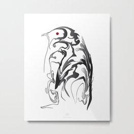 Penguin pigeon 1. Black on white background. Metal Print