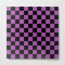 Checkered Purple and Black Metal Print