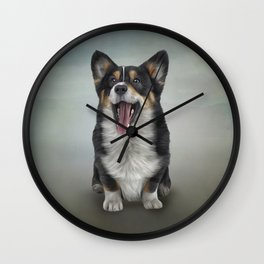 Drawing Dog Welsh Corgi black Wall Clock