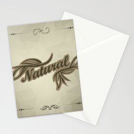 sticker badge with the inscription sheet and Natural. in natural colors Stationery Cards