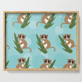 pattern - lemur on green branch on blue background Serving Tray
