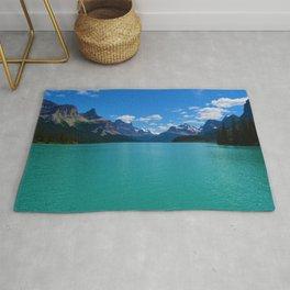 """Hall of Gods"" Maligne Lake in Jasper National Park, Canada Rug"