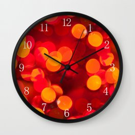 Red yellow sparkles and circles bokeh abstract Wall Clock