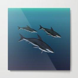 Three Sharks Dive Deep Metal Print