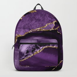 Glamour Purple Bohemian Watercolor Marble With Glitter Veins Backpack