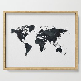 World Map in Black and White Ink on Paper Serving Tray