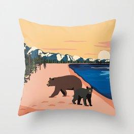 Beach Bears Lake Tahoe Throw Pillow